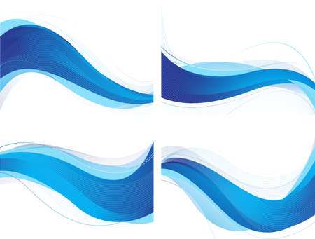 Abstract blue wavy background set