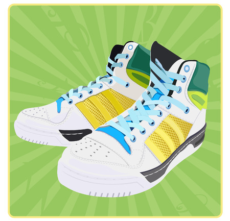 running shoes: Abstract vector clipart. Icon. Running shoes