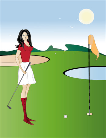 The brunette in red with enthusiasm plays a golf Vector