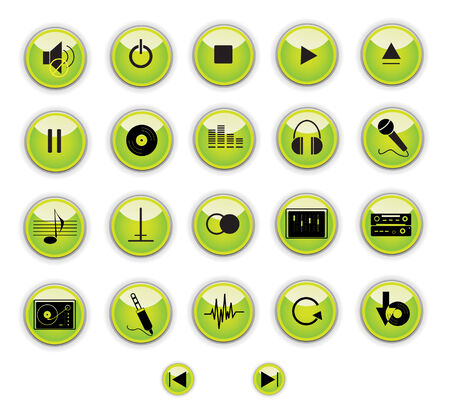 Green musical buttons. Vector illustration. Vector