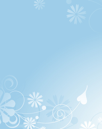 Gently blue background with an abstract vegetative pattern. Area for greetings  and inscriptions Vector