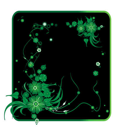Vector frame. Green floral pattern on a black background Stock Vector - 9130259