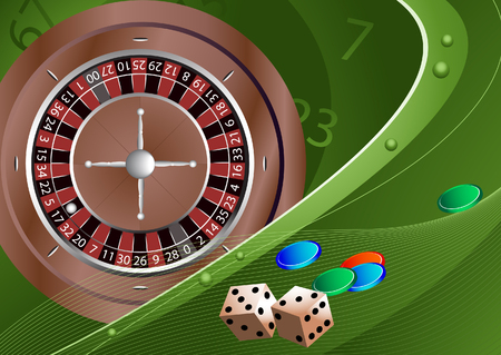 Gambling. Roulette, dice, chips. Background. Stock vector illustration. Vector