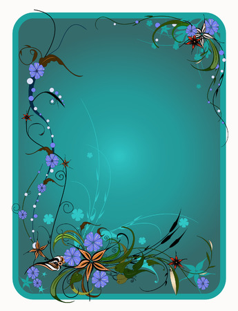 Vector illustration. Bright turquoise frame. Stock Vector - 9139566