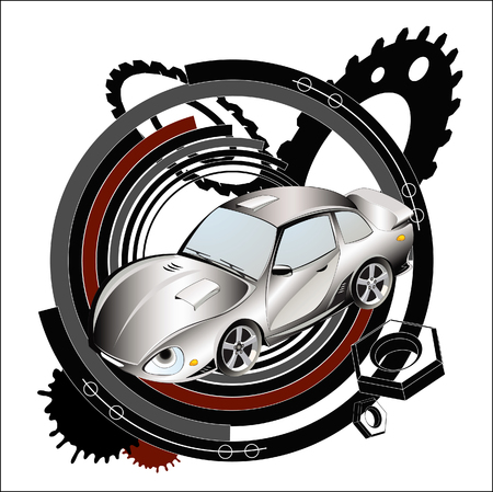 Racing car on an industrial background. Vector illustration. Vector