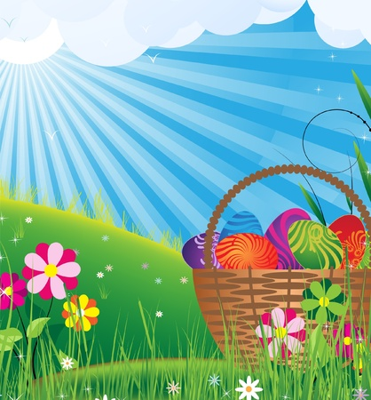 Easter basket with eggs on to the meadow under tender sunbeams Vector