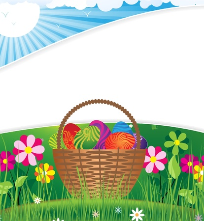 Basket with Easter eggs on the background of open flowers Vector