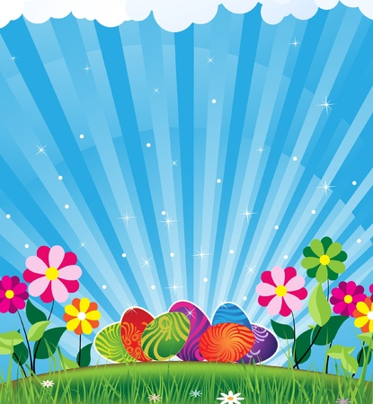 Easter eggs with an original ornament in rising sun beams Stock Vector - 9295385