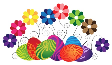 Bright wild flowers and original Easter eggs. Isolation on white Stock Vector - 9295381