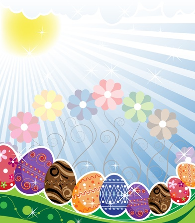Bright Easter eggs with an original ornament under sunbeams Stock Vector - 9295387