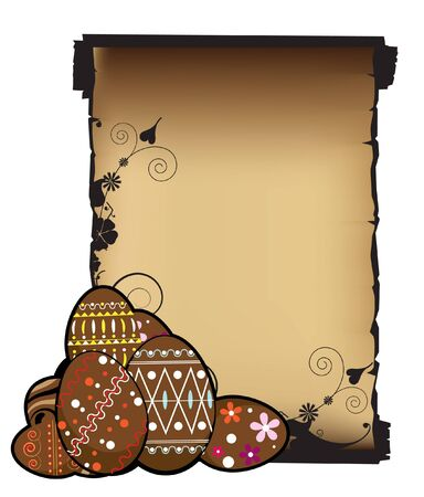 Chocolate Easter eggs and ancient  manuscript Stock Vector - 9295382