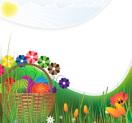 Basket with colored eggs and flowers on flowering meadow Vector