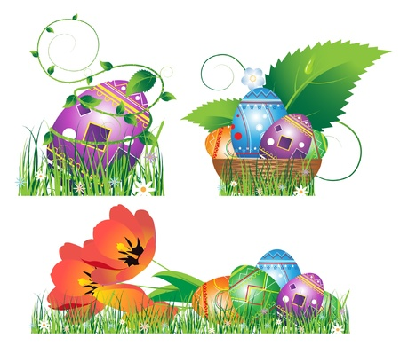 Egg, tulip, basket, lie in the grass. Easter symbols isolated on white Vector