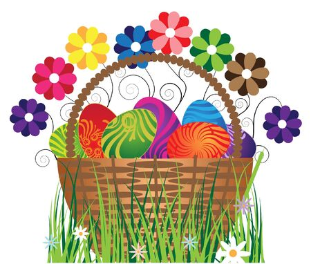 Original eggs in the basket with flowers. Isolation on white. Stock Vector - 9356876