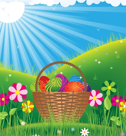 Basket filled with eggs among flowers on a sunny meadow Vector