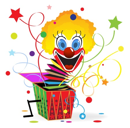 jokes: Red-haired clown with blue eyes jumps out from a box Illustration