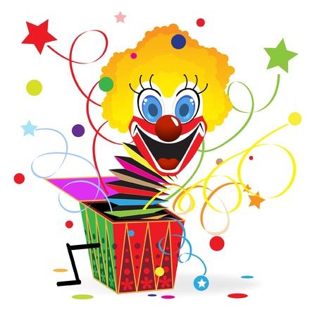 Roodharige clown met blauwe ogen springt uit een doos Stock Illustratie