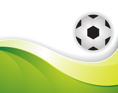 Soccer ball on a brilliant wavy green background Vector