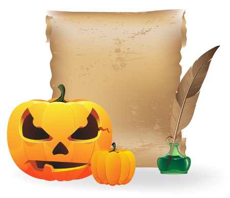 pumkin: Pumpkin head, sheet of paper, feather and inkwell on a white background