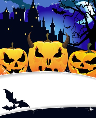 Night monsters near the ancient castle. Halloween background Vector