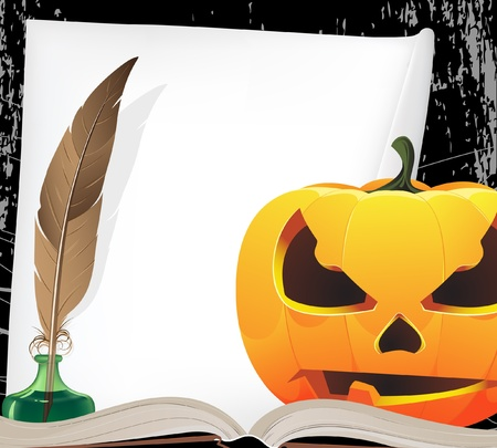 old writing: Jack o Lantern and old writing equipment