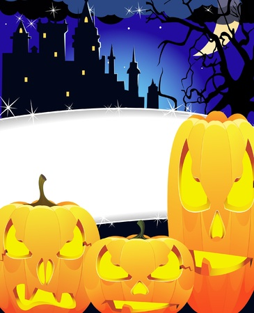 Creepy Jack O lanterns with glowing eyes near the Haunted Castle Stock Vector - 10999855