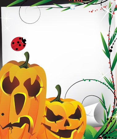 Two Jack O Lanterns and a piece of old paper Stock Vector - 10999954