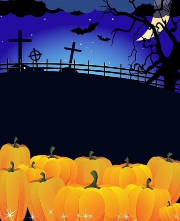 pile of ripe pumpkins near the  night cemetery Stock Vector - 10999882