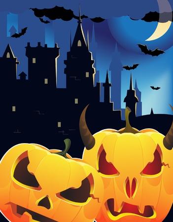 Pumpkin head monsters near the night castle Vector