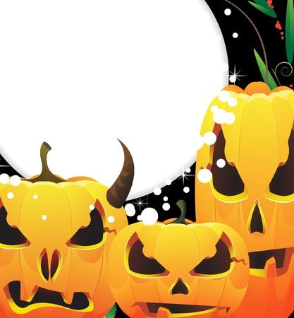 jack o  lanterns: Three terrible Jack o Lanterns. Happy Halloween background.