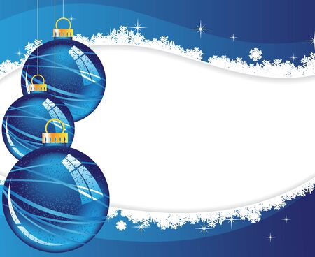 blue Christmas decorations on a wavy snow background  Vector