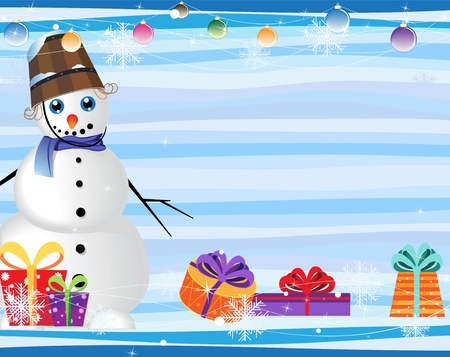 blue-eyed snowman and gift boxes on a blue striped background Vector