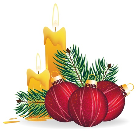 Christmas decorations, candles and fir branches on a white background