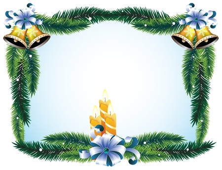 Christmas wreath with bows, candles and bells Vector