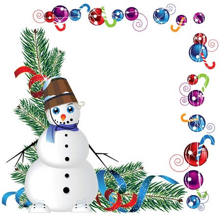 blue-eyed snowman with a bucket on his head, the branches of spruce and Christmas garland Illustration