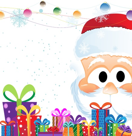 x mas background: Santa Claus Head and heap of Christmas gifts on a white background