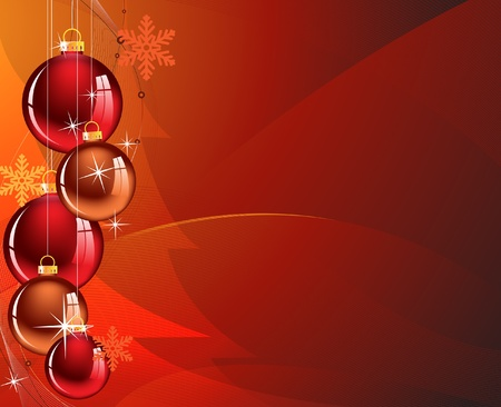 glint: Christmas decorations in an abstract red background