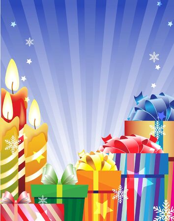 Gift boxes and burning candles on a shining background Stock Vector - 11528032