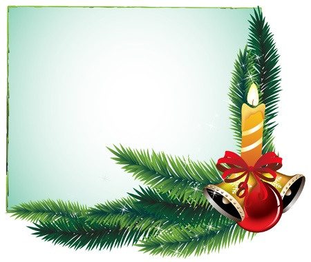 Garland of spruce branches and decorations Vector