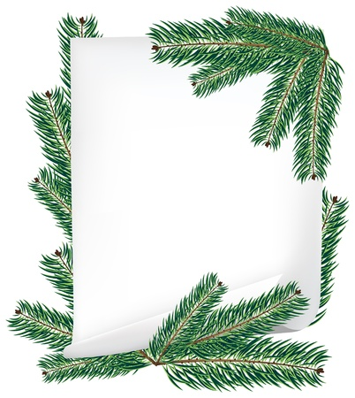Sheet of paper and spruce branches isolated on white