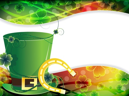 patricks: Leprechaun hat and a horseshoe on a transparent St  Patrick s  background Illustration