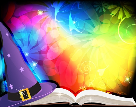 Witch hat and spell book on an abstract fairytale background