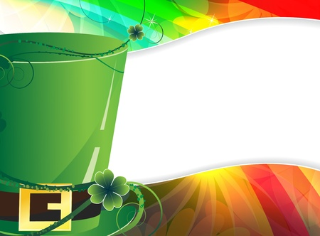 Green Leprechaun hat on an transparent rainbow background  St  Patrick s Day  border  Vector