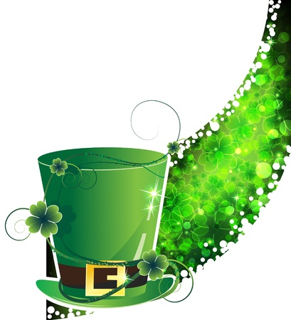 Leprechaun hat with a gold buckle on the transparent clover background   St  Patrick s Day  background  Stock Vector - 12492921