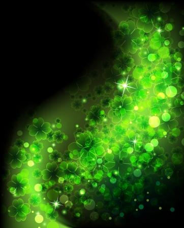 Wave of magic sparkling clover on a black background   St  Patrick  イラスト・ベクター素材