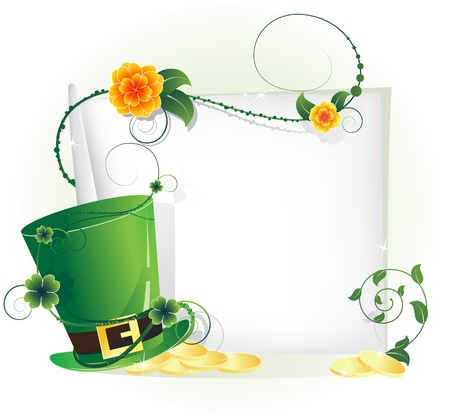 entwined: Leprechaun hat with gold coins and a blank sheet of paper, entwined with ivy