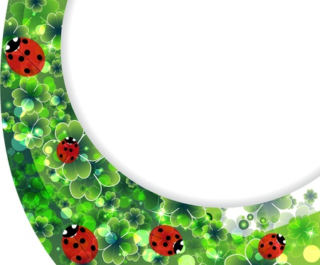 Ladybirds family on the abstract clover background Vector