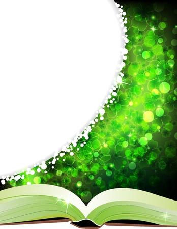 魔法の四つ葉のクローバーの背景に妖精物語の本