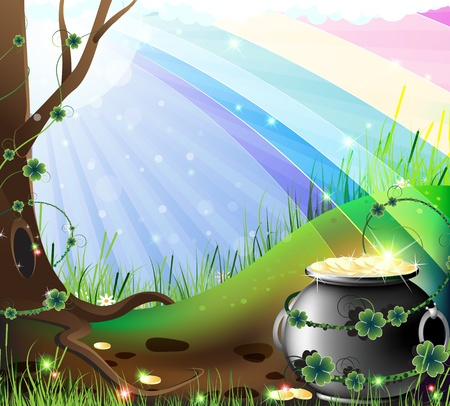 Rainbow shows the way to the lawn to the hidden treasures of the leprechaun Vector