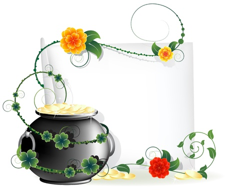 Kettle with gold coins and a blank sheet of paper entwined with ivy  St Patrick s Day abstract background Vector